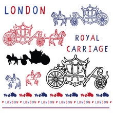 Sketchy London Royal Carriage Clipart Elements Set. Famous Historical British Symbol For Travel Vacation Wallpaper, British Uk Sightseeing All Over Print. Hand Horse Drawn Queen Ride In Blue White.