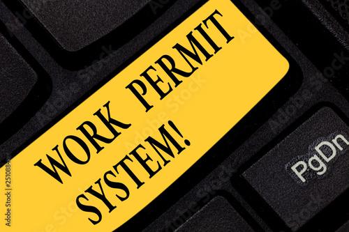 Fotografía  Text sign showing Work Permit System