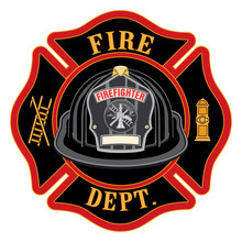 Fire Department Cross Black Helmet Is An Illustration Of A Fireman Or Firefighter Maltese Cross Emblem With A Black Firefighter Helmet And Badge Containing An Empty Space For Your Text.