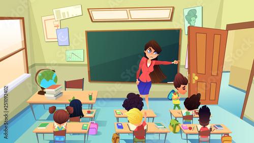 Fotografía  Teacher Excluding Pupil from Class Cartoon Vector