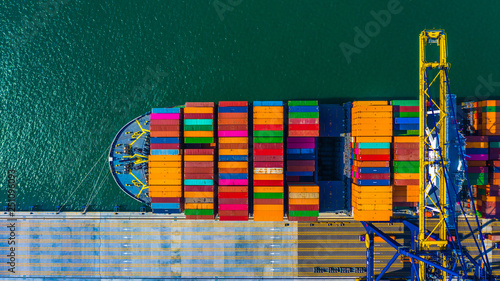 Foto auf Gartenposter Rotterdam Container cargo freight ship with working crane bridge discharge at container terminal, Aerial top view container ship at deep sea port.