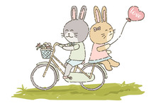 Cute Rabbit Riding Bicycle Wit...