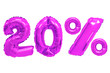 canvas print picture - twenty percent from balloons purple color