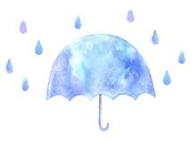 かわいい傘と雨粒 水...