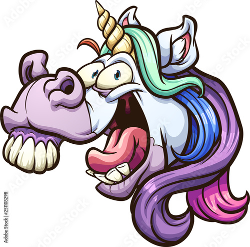 Photo  Crazy cartoon unicorn head laughing and neighing clip art