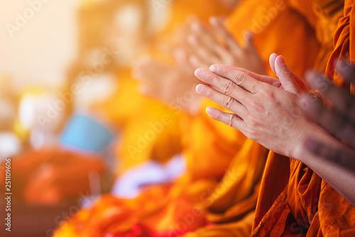 Carta da parati  southeast Asia, pray of monks on ceremony of buddhist in Thailand