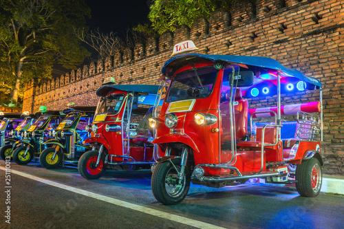 Poster Bangkok Tuk Tuk Thailand. Thai traditional taxi in Thailand.