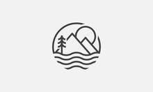 Lake Logo Design, Mountain Logo, Adventure Logo, Vector