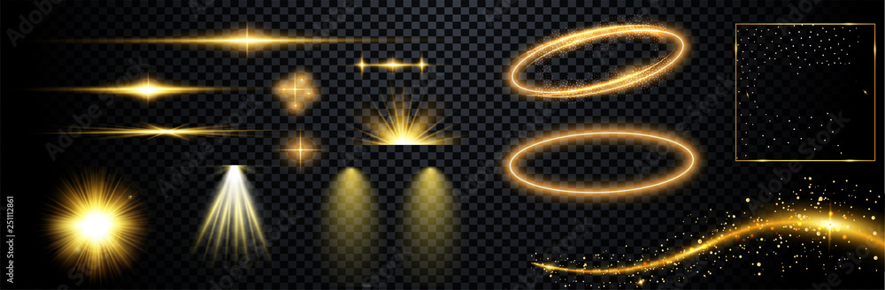 Fototapeta 	 Set of flashes, lights and sparks. Abstract golden lights isolated on a transparent background. Bright gold flashes and glares. Bright rays of light. Glowing lines. Vector illustration.