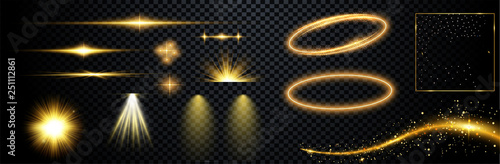 Set of flashes, lights and sparks. Abstract golden lights isolated on a transparent background. Bright gold flashes and glares. Bright rays of light. Glowing lines. Vector illustration.