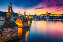 Majestic Medieval Stone Charles Bridge At Sunset, Prague, Czech Republic