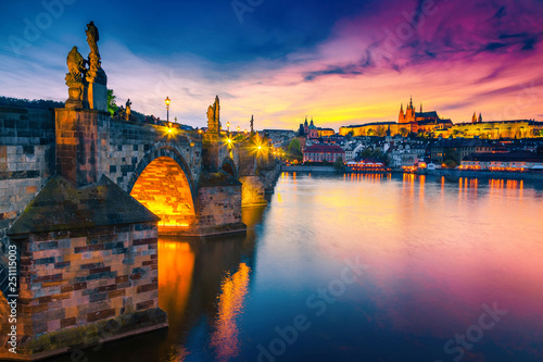 Majestic medieval stone Charles bridge at sunset, Prague, Czech Republic Canvas Print