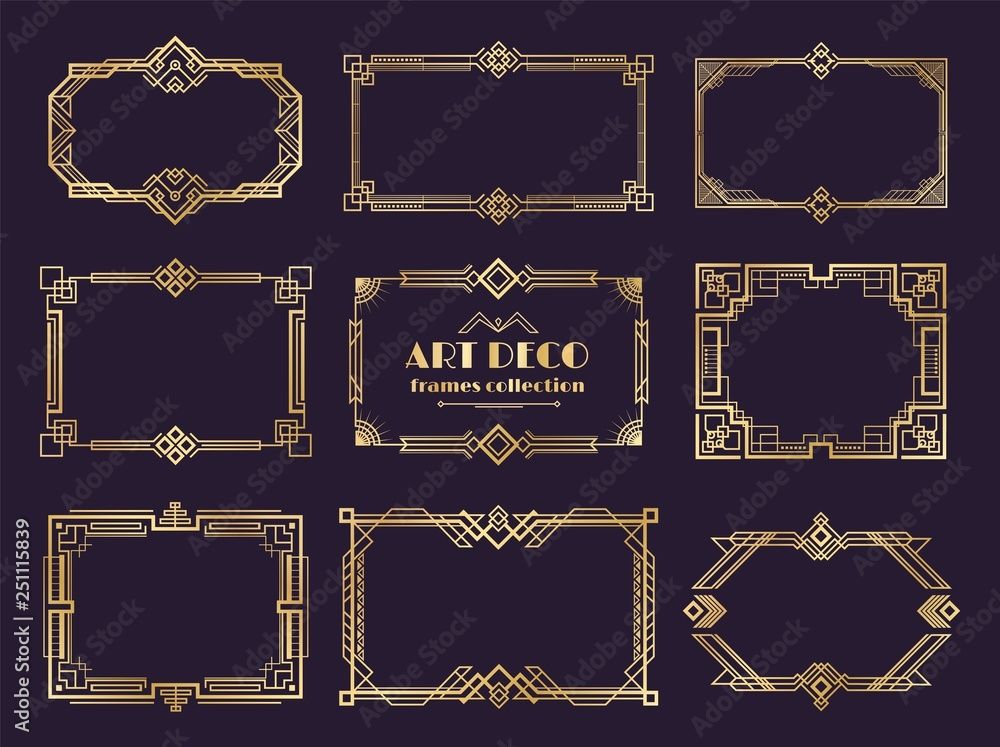 Fototapeta Art deco borders set. Golden 1920s frames, nouveau luxury geometric style, abstract vintage ornament. Vector art deco elements set