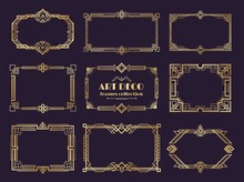 Art Deco Borders Set. Golden 1...