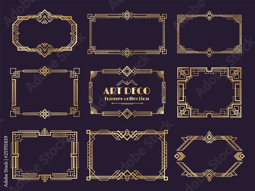 Obraz Art deco borders set. Golden 1920s frames, nouveau luxury geometric style, abstract vintage ornament. Vector art deco elements set - fototapety do salonu