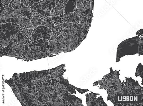 Minimalistic Lisbon city map poster design. Fototapet