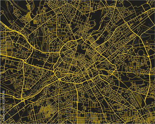 Black and yellow vector city map of Manchester with well organized separated layers Canvas Print
