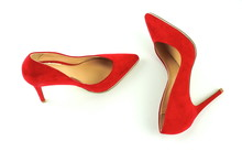 Women Red High Heel Shoes On White Background.Fashion Blog Look.Copy Space