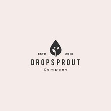 Drop Leaf Sprout Logo Hipster Retro Vintage Vector Icon Illustration