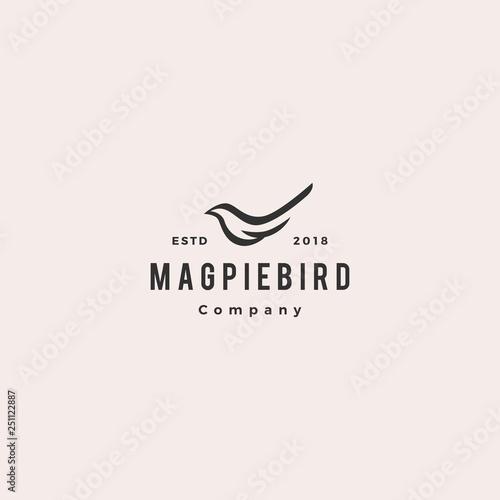 Fotografía magpie bird logo hipster retro vintage vector icon illustration