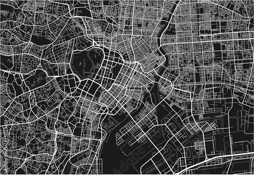 Black and white vector city map of Tokyo with well organized separated layers Wallpaper Mural