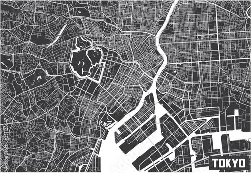 Fotomural Minimalistic Tokyo city map poster design.