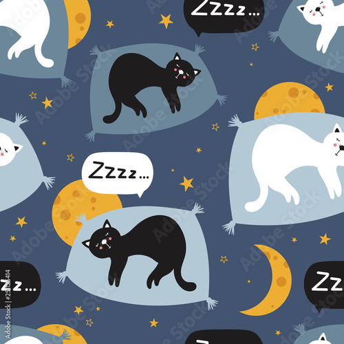 Sleeping cats, hand drawn backdrop. Colorful seamless pattern with animals, moons, stars. Decorative cute wallpaper, good for printing. Overlapping background vector. Design illustration
