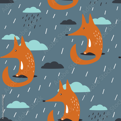 Foxes, clouds, rain, hand drawn backdrop. Colorful seamless pattern with animals and sky. Cute wallpaper, good for printing. Overlapping background vector. Design illustration