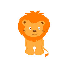 Cute Little Lion In Cartoon Style On White Background. The Soul Of The Child. Vector Illustration