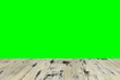 canvas print picture - old painted washed oak wood table on the blurry chroma key green screen wall background, wooden table.