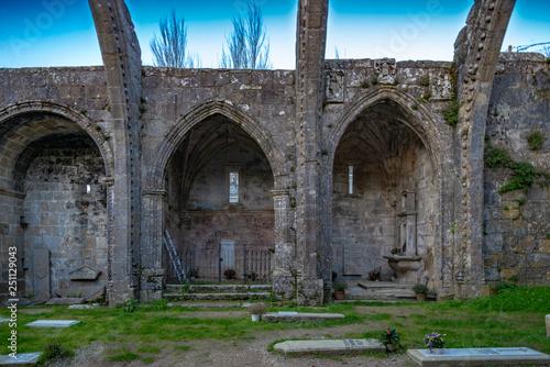 In de dag Palermo Ruinas de Santa Mariña Dozo, en Cambados ,Pontevedra de estilo gótico marinero, con el cementerio