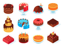 Isometric Cakes. Chocolate Cake Slice, Delicious Sliced Birthday Pie And Tasty Pink Glaze Cake Isolated 3d Vector Set