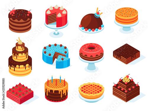 Fototapeta Isometric cakes. Chocolate cake slice, delicious sliced birthday pie and tasty pink glaze cake isolated 3d vector set obraz
