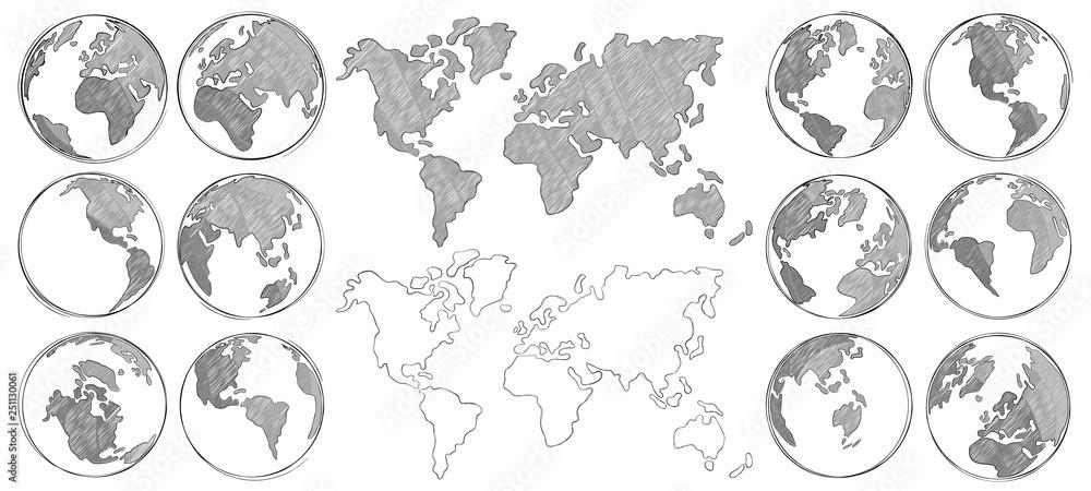 Szkicowana Mapa. Ręcznie rysowane kuli ziemskiej, rysunek mapy świata i globusy szkice na białym tle ilustracji wektorowych <span>plik: #251130061 | autor: Tartila</span>