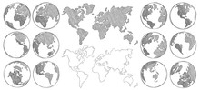 Sketch Map. Hand Drawn Earth G...
