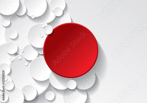 Fotografering  fond cercle rouge et blanc