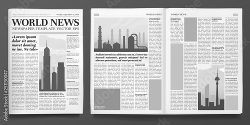 Fototapeta Business newspaper template. Financial news headline, newspapers pages and finance journal isolated vector illustration layout obraz