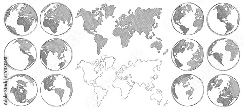 Sketch map. Hand drawn earth globe, drawing world maps and globes sketches isolated vector illustration #251130061