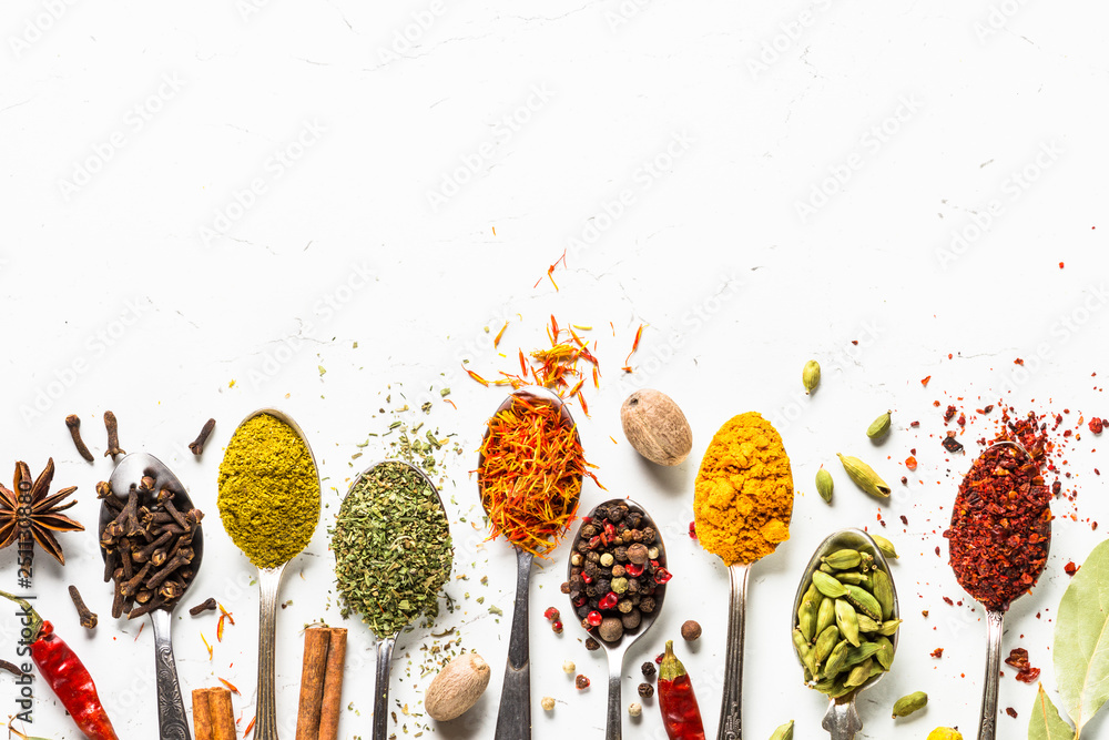 Fototapety, obrazy: Set of various spices in spoons on white