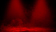 Red smoke stage studio. Abstract spotlight with fog texture .