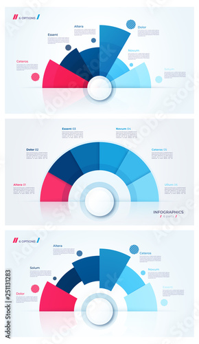 Photo  Set of stylish pie chart circle infographic templates. 6 parts.