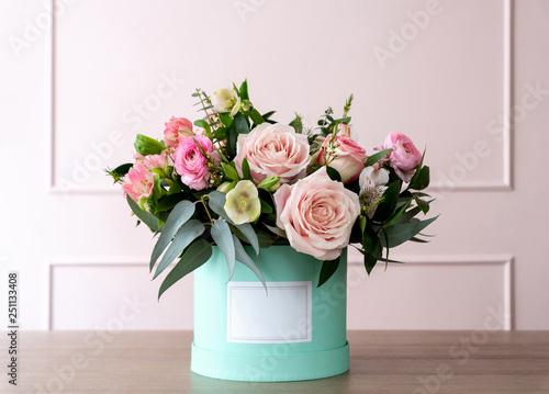 Beautiful bouquet of flowers in a box Fototapeta