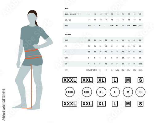 Measurements for clothing Tablou Canvas