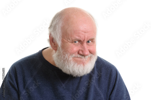 Photo old man with insidious tricky fake smile, isolated on withe