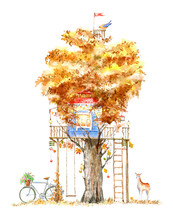 Tree House For Kids.Swing, Bicycle,deer, And Playhouse.Autumn Image.White Background. Watercolor Hand Drawn Illustration.