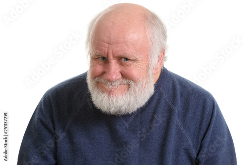 old man with insidious tricky fake smile, isolated on withe Wallpaper Mural
