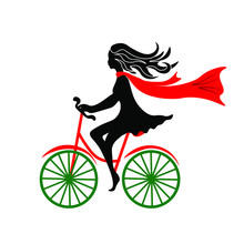 The Girl In Black With A Red Scarf On Developing The Bike.