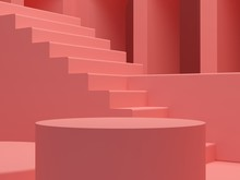 Minimal Podium Scene, With Arches And Stairs In The Background. Scene With Geometrical Forms, Coral Pink Arches Background. Cylindrical Podium. 3D Render