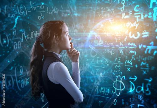 Obraz Student in front of the blackboard. - fototapety do salonu