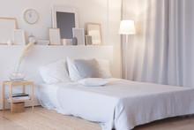 Modern Bedroom With Floor Lamp...